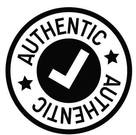 authentic rubber stamp black. Sign, label sticker