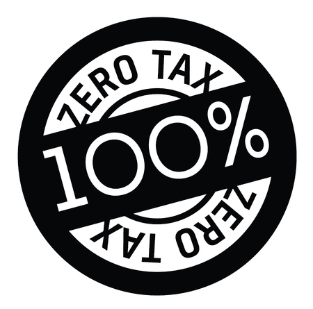 zero tax rubber stamp black. Sign, label sticker Ilustrace