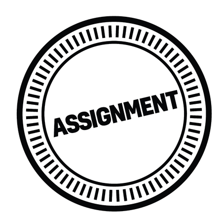 assignment rubber stamp black. Sign, label sticker