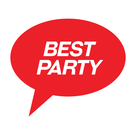 best party rubber stamp black. Sign, label sticker