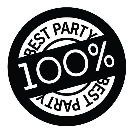best party rubber stamp black. Sign, label sticker