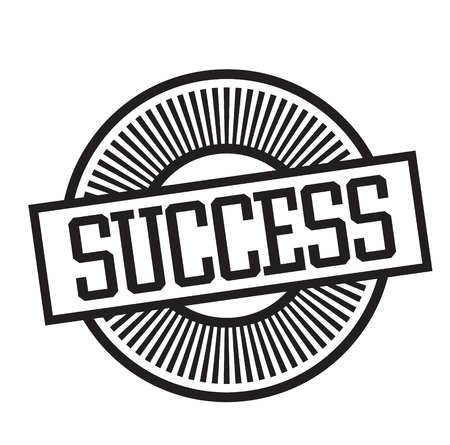 success rubber stamp black. Sign, label sticker