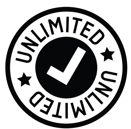 unlimited rubber stamp black. Sign, label sticker Illustration