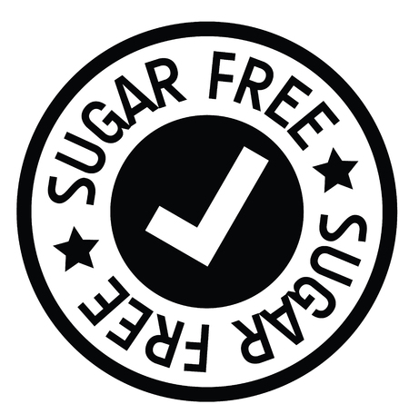 sugar free rubber stamp black. Sign, label sticker