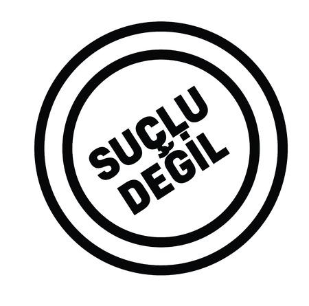 not guilty black stamp in turkish language. Sign, label, sticker