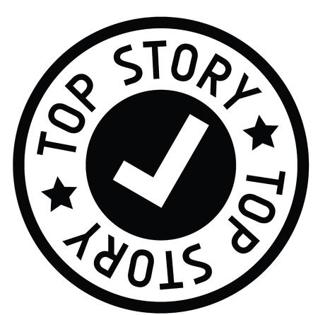 top story rubber stamp black. Sign, label sticker Illustration
