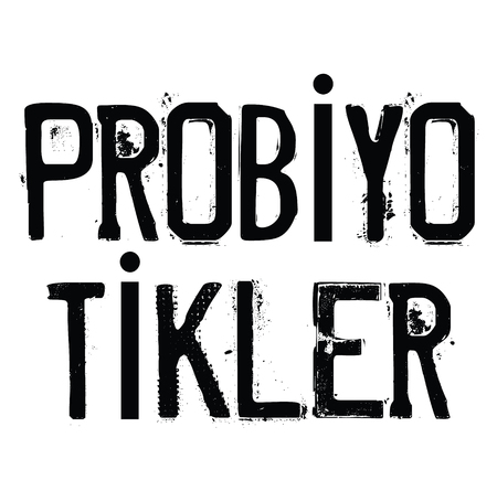 probiotics black stamp in turkish language. Sign, label, sticker
