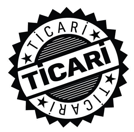 commercial black stamp in turkish language. Sign, label, sticker Illustration