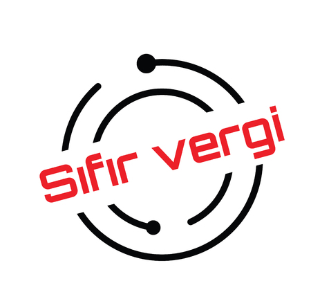 zero tax black stamp in turkish language. Sign, label, sticker Illustration