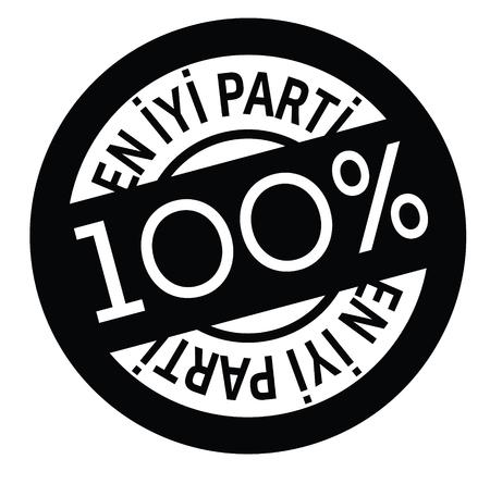 best party black stamp in turkish language. Sign, label, sticker