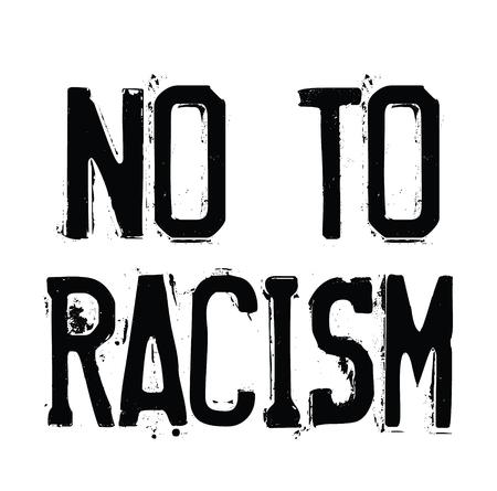 No al racismo sello negro sobre fondo blanco. Signo, etiqueta, pegatina.