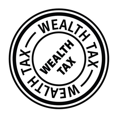 wealth tax black stamp on white background. Sign, label, sticker