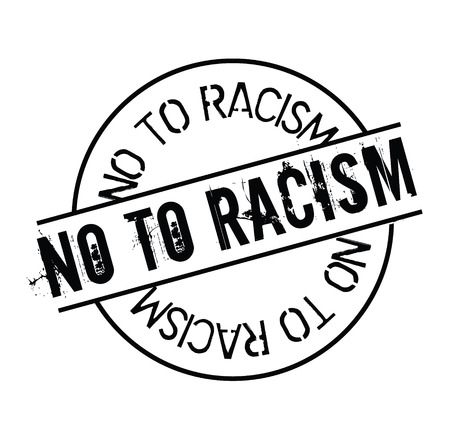 no to racism black stamp on white background. Sign, label, sticker.