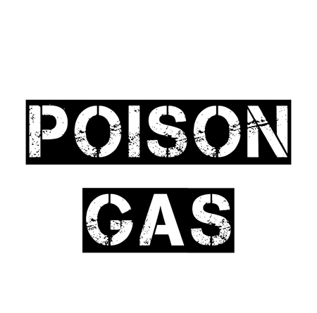 poison gas black stamp on white background. Sign, label, sticker