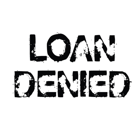 loan denied black stamp on white background. Sign, label, sticker