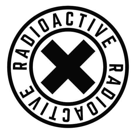 radioactive black stamp on white background. Sign, label, sticker Vectores