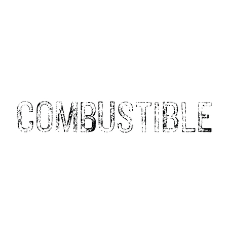 combustible black stamp on white background. Sign, label, sticker