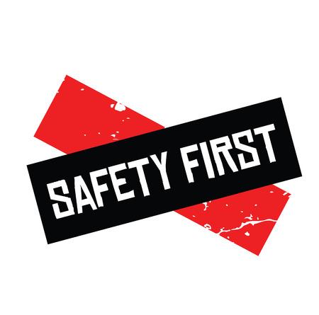 safety first black stamp on white background. Sign, label, sticker Ilustrace