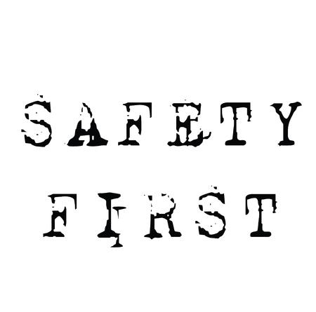safety first black stamp on white background. Sign, label, sticker 일러스트