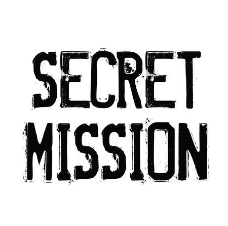 secret mission black stamp on white background. Sign, label, sticker Vectores