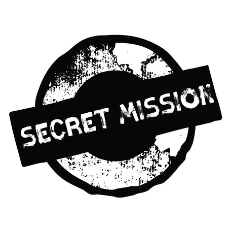 secret mission black stamp on white background. Sign, label, sticker Illustration