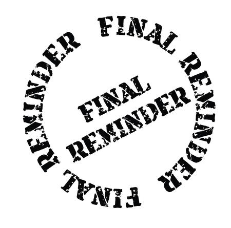 promemoria finale timbro nero su sfondo bianco. Segno, etichetta, adesivo