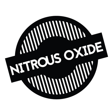 timbro di protossido di azoto nero su sfondo bianco. Segno, etichetta, adesivo Vettoriali