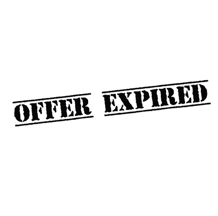 offer expired black stamp on white background. Sign, label, sticker