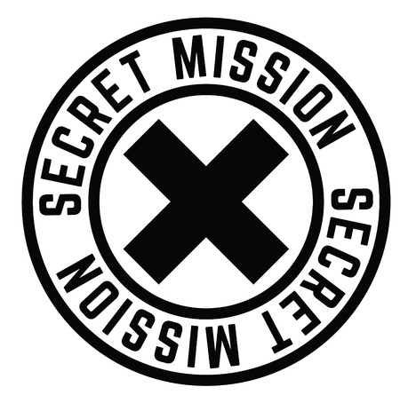 secret mission black stamp on white background. Sign, label, sticker 일러스트
