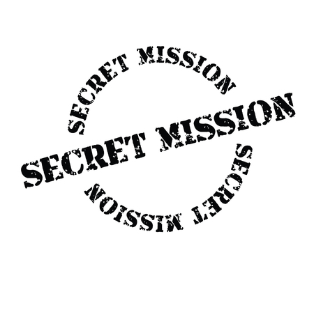 secret mission black stamp on white background. Sign, label, sticker Иллюстрация