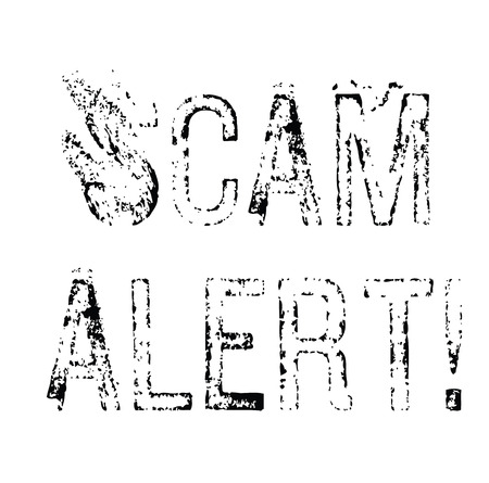 scam alert black stamp on white background. Sign, label, sticker 일러스트