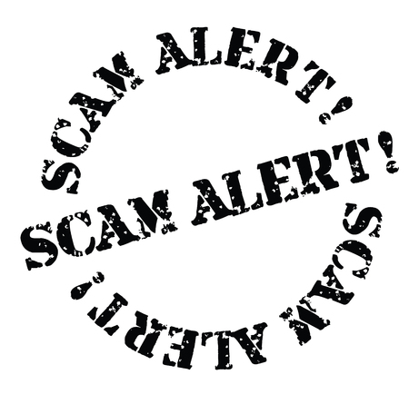 scam alert black stamp on white background. Sign, label, sticker Illustration