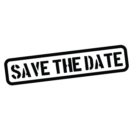 save the date black stamp on white background. Sign, label, sticker.