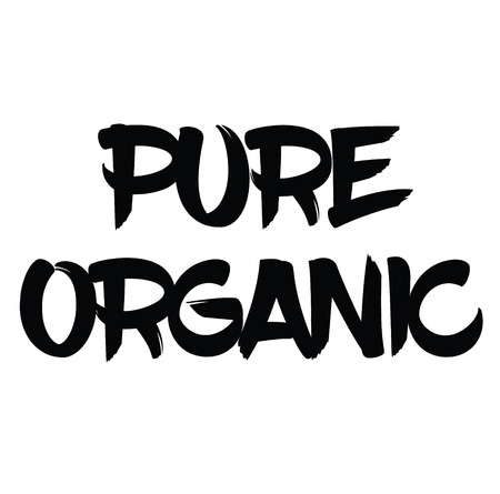 pure organic black stamp on white background. Sign, label, sticker