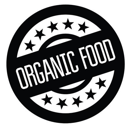 organic food black stamp on white background. Sign, label, sticker