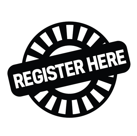 register here black stamp on white background. Sign, label, sticker Illustration