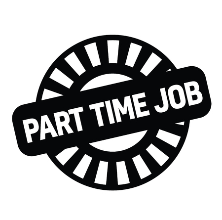 part time job black stamp on white background. Sign, label, sticker. 일러스트