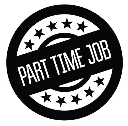 part time job black stamp on white background. Sign, label, sticker. Vectores
