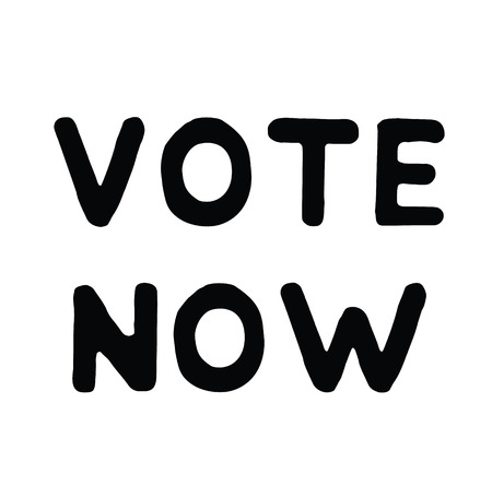 vote now black stamp on white background. Sign, label, sticker