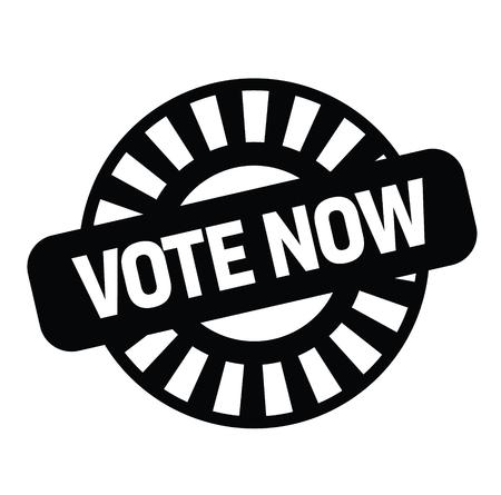 vote now black stamp on white background. Sign, label, sticker