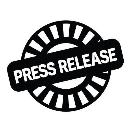 Comunicado de prensa sello negro sobre fondo blanco. Signo, etiqueta, pegatina Ilustración de vector