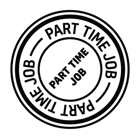 part time job black stamp on white background. Sign, label, sticker. 일러스트