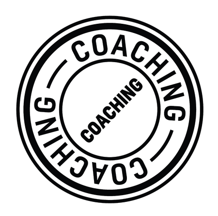 coaching black stamp on white background. Sign, label, sticker