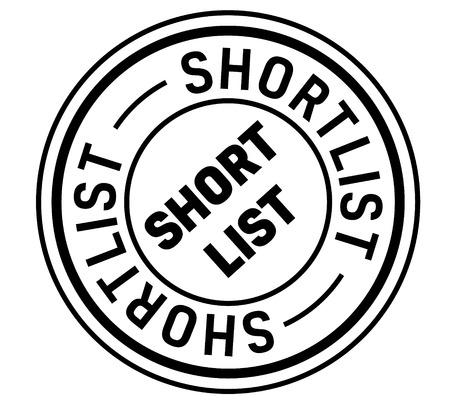 shortlist stamp on white background. Sign, label, sticker. Illustration