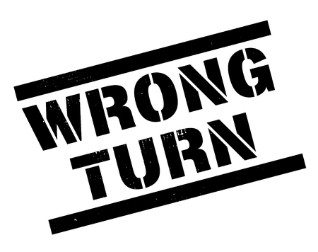 wrong turn stamp on white background. Sign, label, sticker.