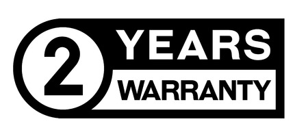 2 year warranty stamp on white background. Sign, label, sticker. Illustration