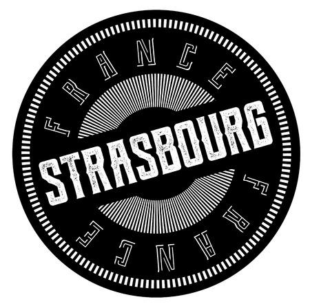 strasbourg stamp on white background. Sign, label, sticker.