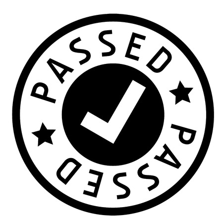 passed stamp on white background. Sign, label, sticker. Çizim
