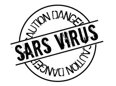 sars virus stamp on white background. Sign, label, sticker.