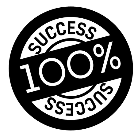 100 percent success stamp on white background. Sign, label, sticker. Illustration